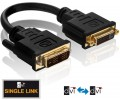 PureLink PureInstall Serie DVI-D 18+1 St. / DVI-D 24+1 Bu. Adapter Kabel, vergoldet 0,10m, schwarz
