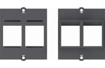 Bachmann Facility System Modul schwarz mit Aufnahme für 2 Datenbuchsen mit Keystone-Befestigung Einbaurahmen passend zu allen Modulträgern (DESK etc.),  für die Aufnahme von Standard-Keystone-Modulen geeignet.