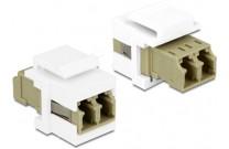 DeLOCK Keystone-Modul, Duplex, LC Bu. / LC Bu., weiß Zum Einbau in Modulträger, Datendosen oder Aufputzgehäuse